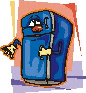 cartoon refrigerator with hands and face