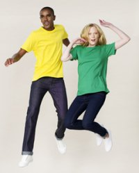 boy and girl in cotton T-shirts