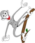cartoon monkey on branch