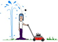 man being sprayed by sprinkler whilst mowing lawn