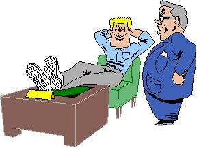 cartoon of man with feet on his desk