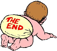baby with 'the end' written on his nappy