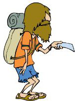 cartoon bearded man with backpack,  reading map