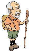 elderly man with backpack and walking stick