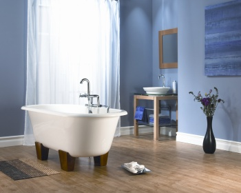 free standing bath in centre of traditional bathroom