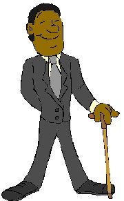 man in suit holding a walking cane