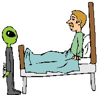 man in bed with alien at the foot