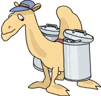cartoon camel carrying two bins