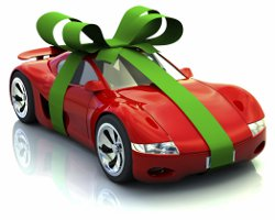 red sports car tied with bow
