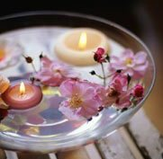 tea lights floating in a bowl of water