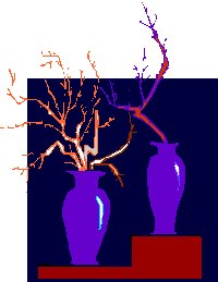 twigs in two tall vases