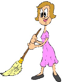 lady with broom