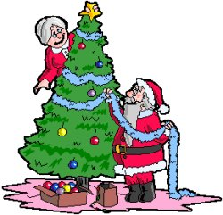 elderly lady and Father Christmas decorating tree