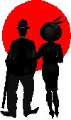 silhouette of Charlie Chaplin and lady