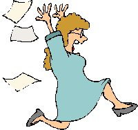 annoyed lady running and throwing papers