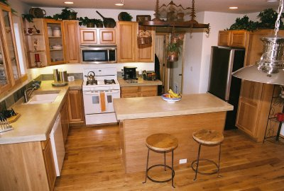 kitchen setting using concrete counter tops