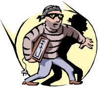 cartoon robber carry stolen property