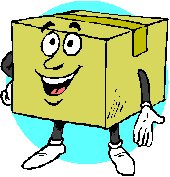 cartoon cardboard box with arms and legs