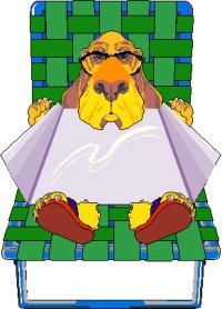 cartoon dog lying on sunbed in sunglasses