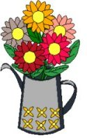 watering can full of flowers