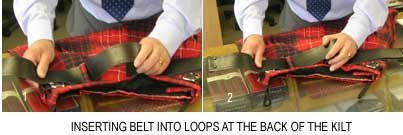 how to insert buckle into back loops on kilt