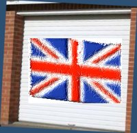 garage door with the union flag painted on the front