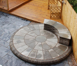 garden seating made from wood and paving stones
