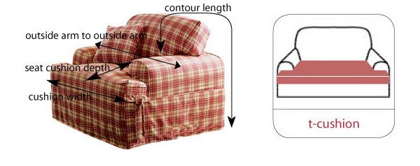 how to measure armchairs and t-cushions