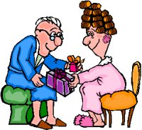 elderly lady and gentleman in the nightwear exchanging gifts