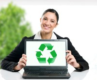 lady holding recycling logo