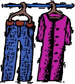dress and trousers on hangers