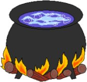 cauldron full of water over a fire