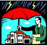 man holding umbrella over property
