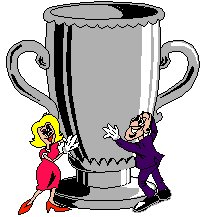 a man and lady holding a very large trophy