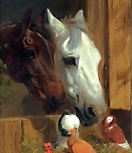 Two horses and their best friends free cross stitch chart