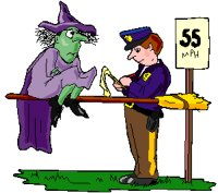 witch on broom being booked for speeding