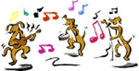 cartoon dogs playing musical instruments