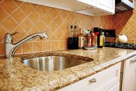granite worktop and sink