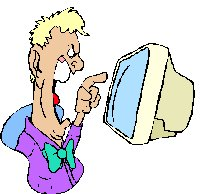 man shouting at computer