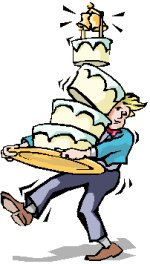 man carrying a toppling wedding cake