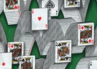 playing cards used as a decoration