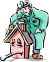 cartoon of man taken a houses temperature