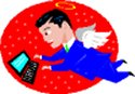 cartoon of man with wings working on computer