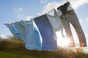 Laundry on a washing line in the sunshine