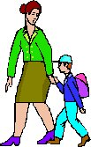 lady walking with small boy