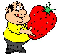 man with huge strawberry