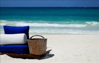 picnic basket in shade on white sandy beach