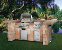 large brick built barbecue