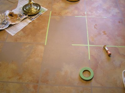 concrete floor in the process of being painted