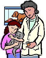vet with child holding cat